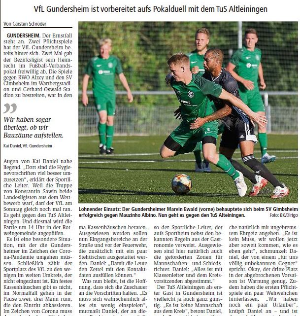 Pokal – 3. Runde gegen Altleinigen und Celtic